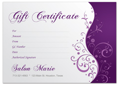 modern salon gift certificate for spa hair stylist. Black Bedroom Furniture Sets. Home Design Ideas