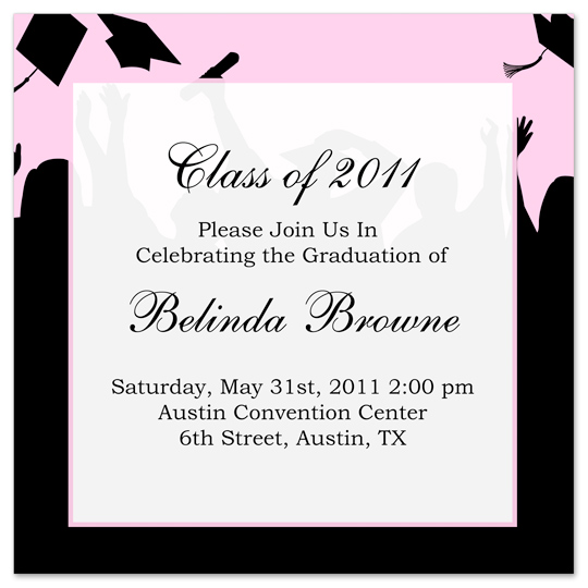 Download Free Graduation Invitation Announcement Black Pink Word – Graduation Invitations Templates 2011