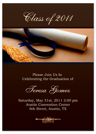 download unique graduation invitation announcement brown gold word, Wedding invitations