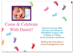 Baby Kids Footprints Birthday Invitation Design