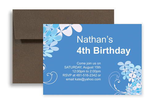 Blue Boy Four Year Old Birthday Invitation Design 7x5 In Horizontal