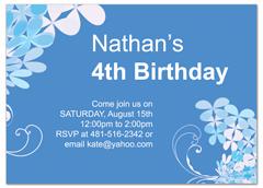 Blue Boy Four Year Old Birthday Invitation Design