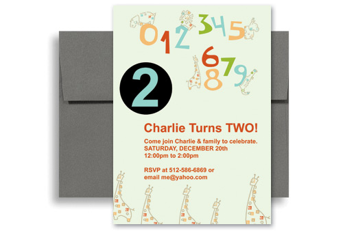Cute Two Year Old Birthday Invitation Design 5x7 In Vertical