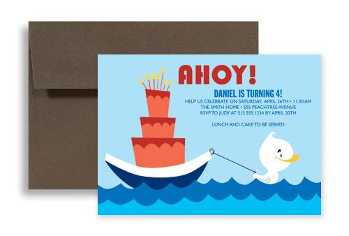 Swimming Pool Party Birthday Invitation Design 7x5 In Horizontal