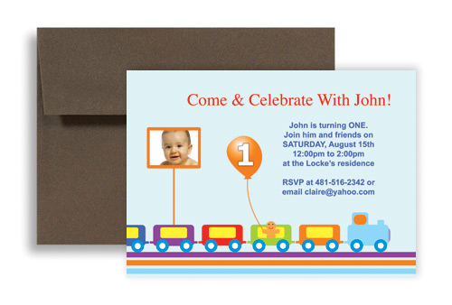 Train Track Photo One Year Birthday Invitation Design 7x5 in – One Year Old Birthday Invitation