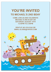 Cartoon Animals Boat Ride Birthday Invitation Examples