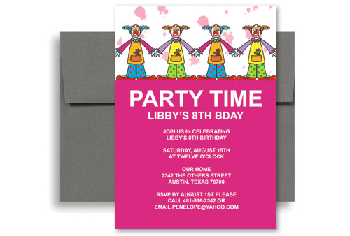 Children Clowns Party Birthday Invitation Examples 5x7 In