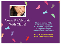 Footprint Children Birthday Invitation Examples