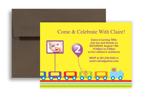 Kids Train Bright Colors Birthday Invitation Examples 7x5 in. Horizontal