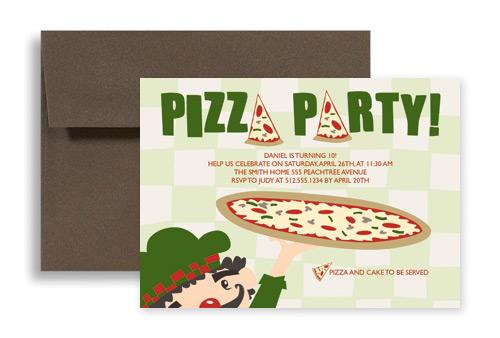 Pizza Cake Ice Cream Birthday Invitation Examples 7x5 in ...