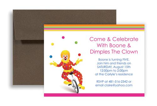 Circus Clown Themed Kids Birthday Invitation Ideas 7x5 In Horizontal