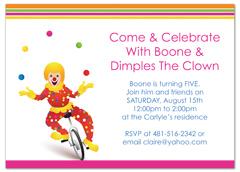 Circus Clown Themed Kids Birthday Invitation Ideas