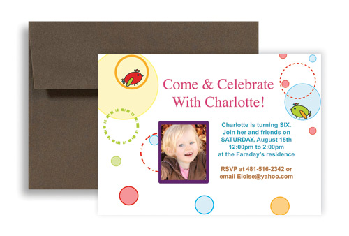 Girl Birds Cartoon 6th Birthday Invitation Ideas 7x5 in – 6th Birthday Invitation
