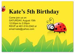 Girl Cartoon Ladybug Fifth Birthday Invitation Ideas