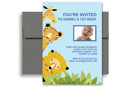 Animal Zoo Party 1st Birthday Invitation Samples 5x7 In Vertical