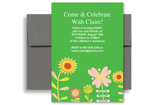 Flower Drawing Eight Year Old Birthday Invitation Samples 5x7 In Vertical