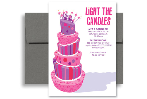 purple girls party birthday invitation samples 5x7 in vertical