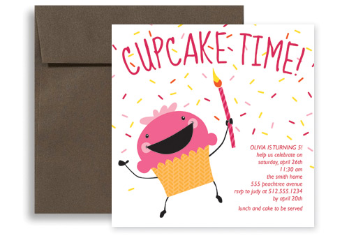 Candle Cupcake Girl Birthday Invitation Wording 5x5 in Square KID
