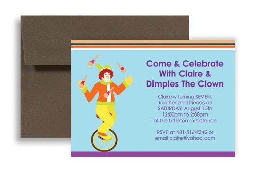 Children Magic Clown Show Birthday Invitation Wording 7x5 In Horizontal