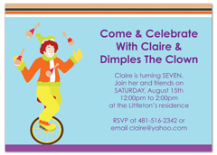 Children Magic Clown Show Birthday Invitation Wording