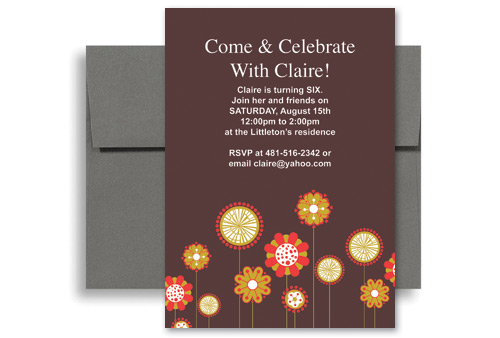 Flowers Background Girl Sixth Birthday Invitation Wording 5x7 In Vertical