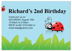 Kids Polka Dots Ladybug Birthday Invitation Wording