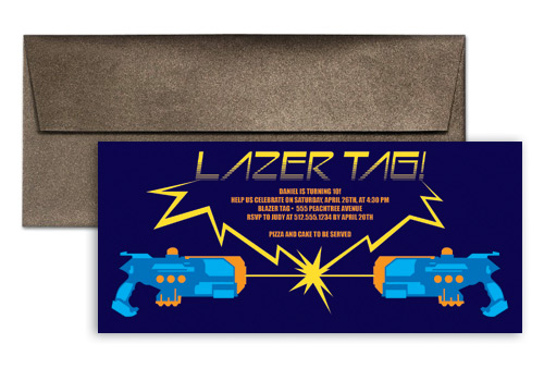 Laser Tag Bday Party Birthday Invitation Wording 9x4 In