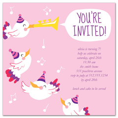 Pink White Girl Birthday Invitation Wording