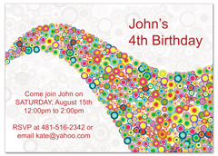 Rainbow Bubbles Birthday Invitation Wording