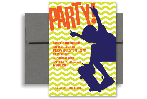 Skateboard Party Birthday Invitation Wording X In Vertical KID - 5x7 birthday invitation template