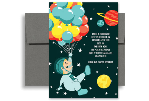 Space Museum Party Birthday Invitation Wording X In Vertical - 5x7 birthday invitation template