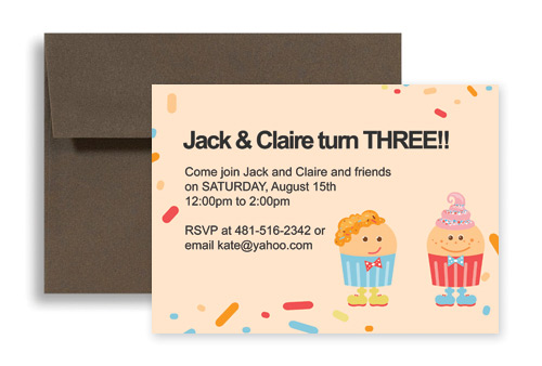 Twin Cake Candy Party Birthday Invitation Wording 7x5 In Horizontal