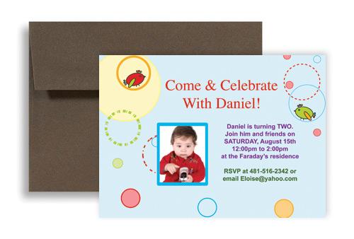 Two Year Boy Baby Blue Birthday Invitation Wording 7x5 in – Baby Birthday Invitations Wording