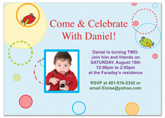 Two Year Boy Baby Blue Birthday Invitation Wording