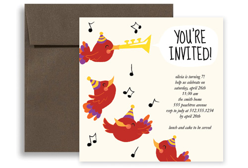 Bird Singing Trumpet Birthday Party Invitations 5x5 in Square KID