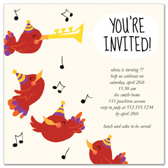 Bird Singing Trumpet Birthday Party Invitations