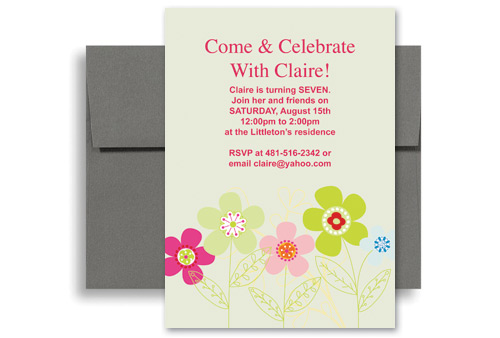 botanical floral girl seventh birthday party invitations 5x7 in