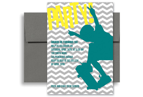 Boys Skating Surfing Birthday Party Invitations 5x7 in Vertical