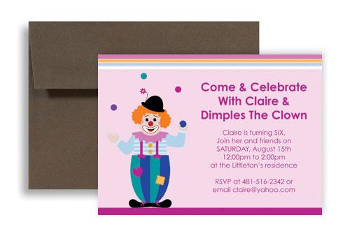 Clown Birthday Party Invitations Custom Invitations – Clown Birthday Party Invitations