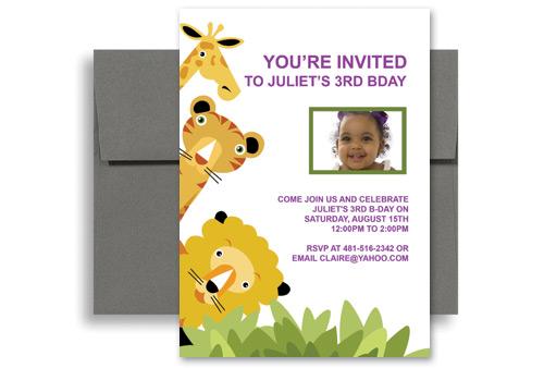 Giraffe Tiger Lion Animals Birthday Party Invitations 5x7 In Vertical