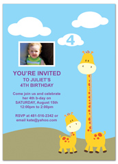 Giraffes Mountain Clouds Birthday Party Invitations