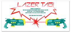Laser Tag Party Event Birthday Invitations