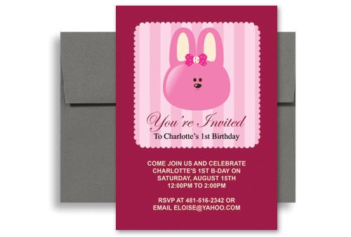 Pink rabbit bunny girl birthday party invitations 5x7 in vertical pink rabbit bunny girl birthday party invitations 5x7 in vertical filmwisefo