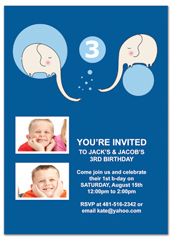 Brothers Twin Boys Blank Birthday Invitation