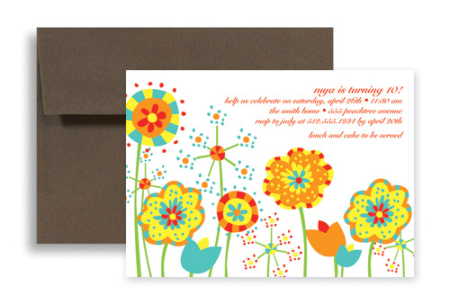 Sunflower Printable Blank Birthday Invitation 7x5 in Horizontal – Free Kids Birthday Invites