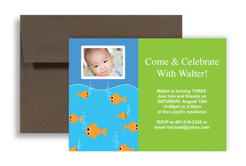 Swimming Goldfish Pool Party Blank Birthday Invitation X In - Goldfish birthday invitation