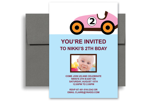 Two Year Old Girl Pink Car Blank Birthday Invitation 5x7 In Vertical