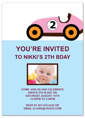 Two Year Old Girl Pink Car Blank Birthday Invitation