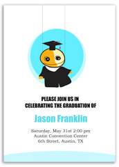 Boy Cartoon Kindergarten Blank Graduation Announcement