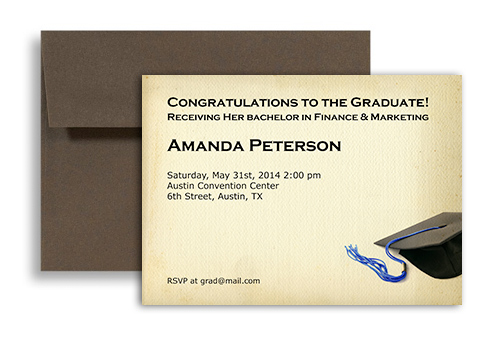 2017 Formal College Blank Graduation Announcement 7x5 in